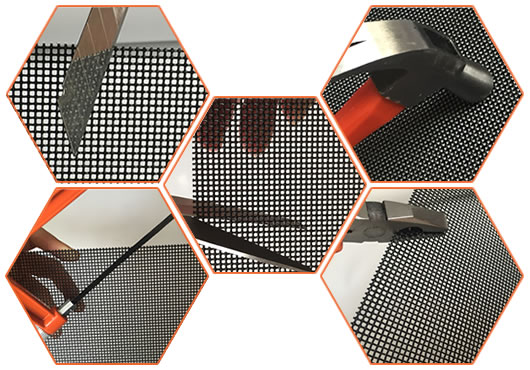 Stainless steel security screen for knife, scissors, hammer, saw and pliers test.