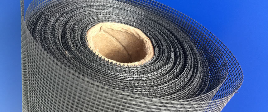 The detail about gray pet screen roll on the dark blue background.